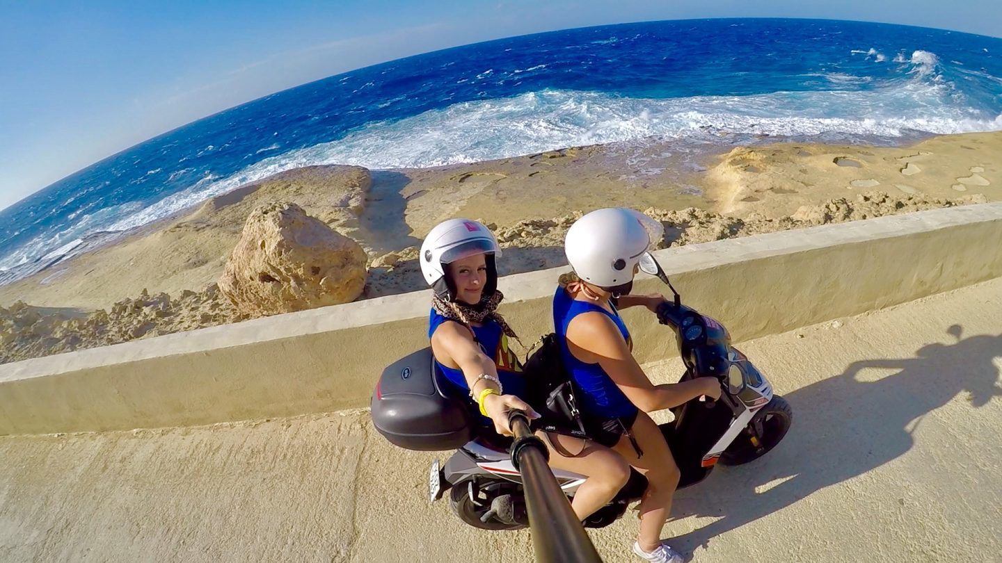 Driving Scooter in Gozo, Malta