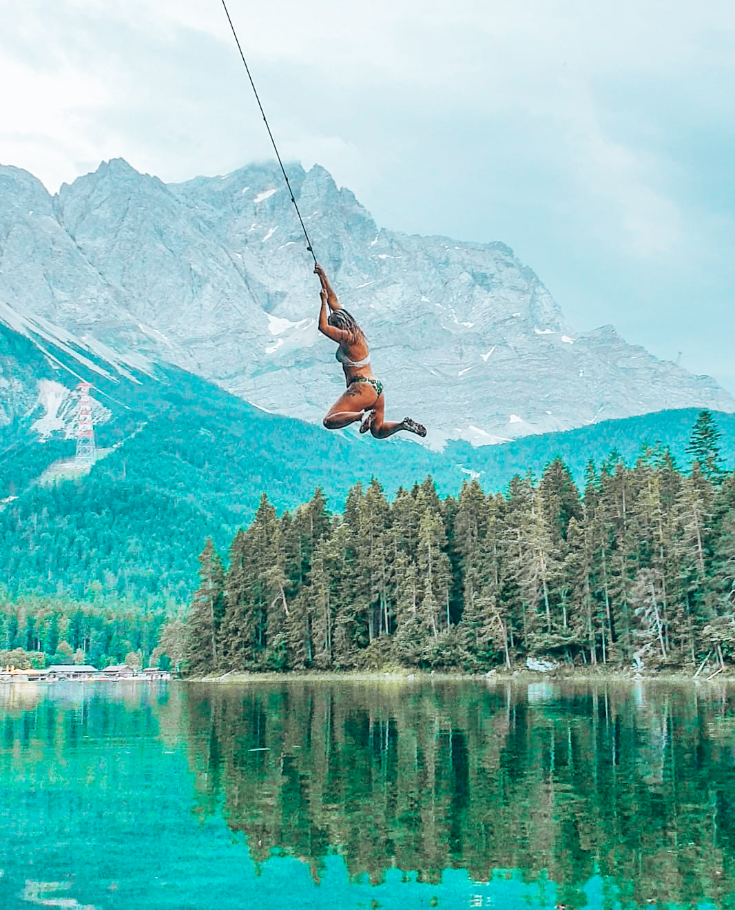 Swinging rope at lake Eibsee